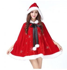 Christmas party performance dress shawl hot diamond dress female adult robe drama film santa cosplay Christmas costume