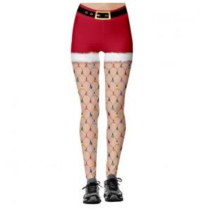 Christmas print fitness running workout long pants for women sports hip-lifting high-waist leggings women's yoga pants