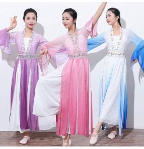 Classical dance Chinese hanfu Women chinese folk dance costumes gradient colored rhyme gauze fairy princess practice clothes art test show set