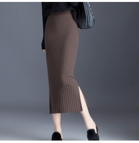 coffee Knitted skirt for women autumn winter mid-length high waist black silver woolen skirt side split fashion one step skirts