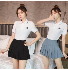 College style suits for female polo shirt pleated skirt short skirt overalls two-piece photos cosplay campus student wear sports skirt