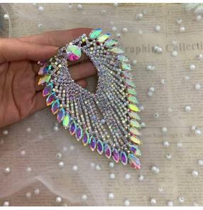 Color white AB heart-shaped tassels DIY Epaulettes rhinestones For Wedding dance dress decoration bag jewelry diamond corsage neckline decoration