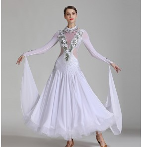 Competition ballroom dance dresses White flowers ballroom dancing tango waltz dance dress