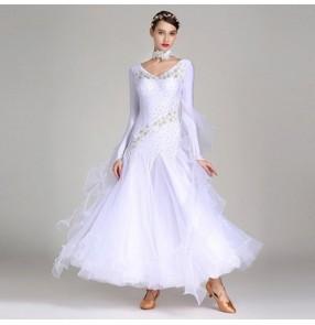 Competition ballroom dresses flamenco dress for women female girls wine dark green turquoise white embroidered waltz tango dance skirt dresses