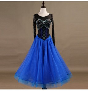 Competition ballroom dresses women's girls black with royal blue waltz tango long length stage performance professional flamenco skirts