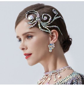 Competition ballroom latin dance diamond headdress for women girls National standard Latin modern dance performance diamond bling head flower accessories hairpin