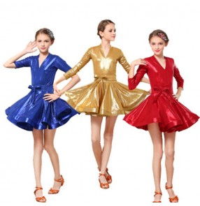 competition ballroom latin dress for girls glitter gold royal blue red stage performance professional rumba chacha salsa dance costumes