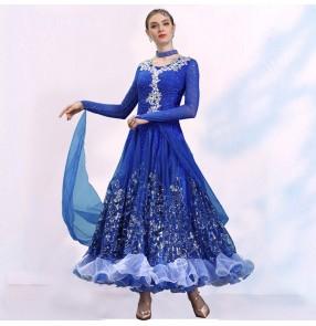 Competition Ballroom waltz dance dresses women light purple royal blue turquoise red color tango waltz ballroom dance dress