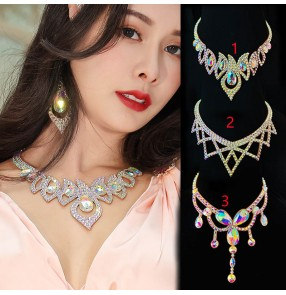 Competition Belly Ballroom latin dance necklace for women girls hand-made hypoallergenic Fancy diamond belly waltz tango dance performance accessories