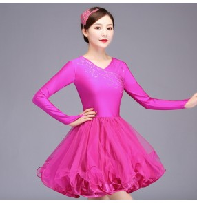 Competition latin dance dress for girls women pink royal blue violet samba salsa chacha latin dance dresses