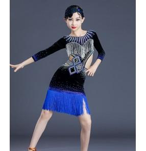 Competition latin dance dresses for kids girls royal blue velvet rhinestones fringes stage performance latin dance costumes for children