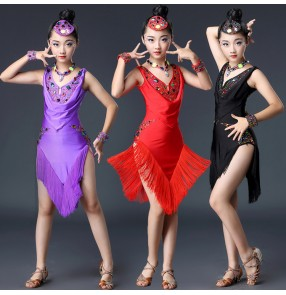 Competition latin dresses for girls rainbow diamond stage performance professional tassels rumba chacha samba dancing dresses