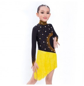 Competition tassels latin dresses for kids children  black with yellow rhinestones long sleeves salsa rumba chacha samba stage performance professional ballroom dresses