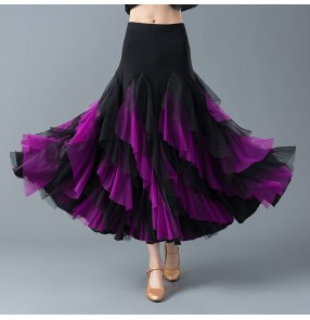 competition Women's violet red with black ballroom dancing skirts stage performance waltz tango dance ruffles skirts