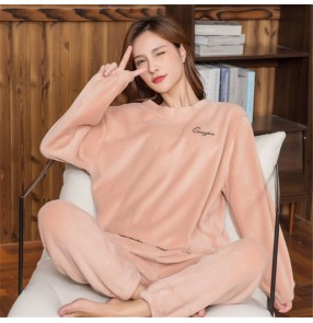Coral fleece pajamas women's long-sleeved sleep wear fairy warm night home suit outer wear thick round neck ladies Tracksuit