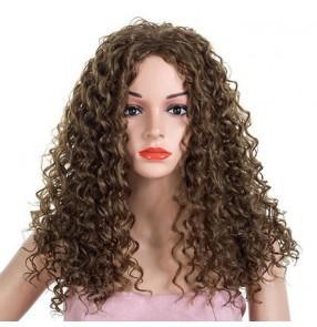 corn curly Wig Synthetic Curly Hair Middle Part drama Cosplay daily use Wigs For Women