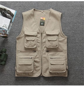 Cotton multi-pocket middle-aged and elderly dad wear waistcoat casual fishing photography vest men's outdoor sports workvest