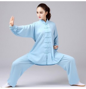 Cotton Tai Chi practice suit chinese kung fu clothing for women and men tai ji quan clothes spring and autumn long-sleeved men's middle-aged elderly fitness costumes