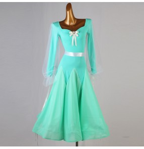 Court Puff sleeves mint ballroom dance dress for women girls  Big swing skirt professional competition performance modern dance test ballroom dance skirt