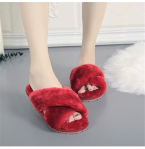 Cross plush yellow fluffy home indoor slippers women fashion home slippers Korean style large size open toe hairy slippers