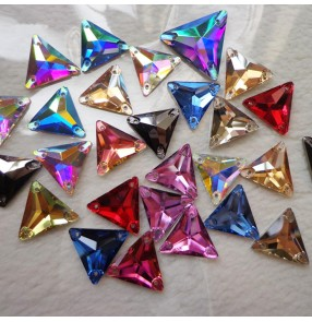 Crytal hand sew flat back rainbow triangle rhinestones for ballroom latin dresses evening wedding dress shoes bag clothing accessories DIY diamond 16mm 10pcs