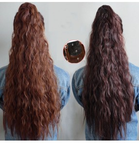 Curly long Wig ponytail corn fluffy ponytail  for girls female wig corn beard tie hair extension for women 60cm length