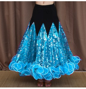 Cusom size Flowers ballroom dancing skirts for women girls royal blue white green turquoise competition stage performance ballroom tango foxtort smooth dance skirts for female