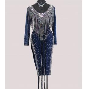 custom-made high-end professional navy tassels Latin dance dress competition skirts for women Adult national standard dance diamond skirts