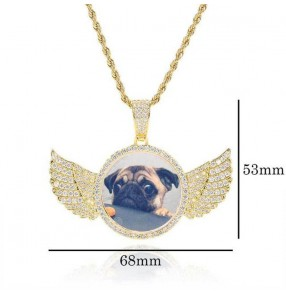 Custom photo Hiphop necklace collection memory angel wings round photo pendant inlaid zircon DIY creative gift hip-hop photo frame necklace jewelry
