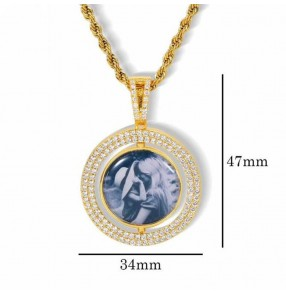Custom Photo Pendant hiphop singers rapper Necklace Rotatable hollow double-sided round photo birthday anniversary gift Private custom picture pendant jewelry