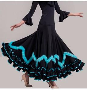 Custom size Ballroom competition dancing skirts stage performance competition gymnastics flamenco waltz tango dancing skirt