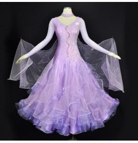 Custom size ballroom dance dresses for women female girls violet rhinestones professional competition waltz tango long dresses