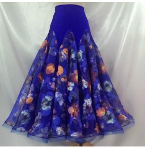 Custom size ballroom dance skirt for girls women female competition stage performance royal blue floral ballroom waltz tango dance skirts