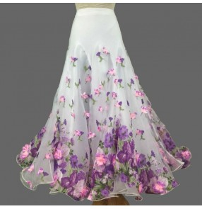 Custom size Ballroom dance skirt waltz tango white with violet flowers stage performance tango waltz dance skirt