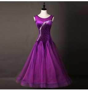 Custom size Ballroom dancing dresses for children kids girls stage performance professional waltz tango dancing skirts
