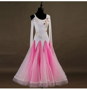 Custom size ballroom dancing dresses for kids children girls stage performance white pink black professional waltz tango dress skirt