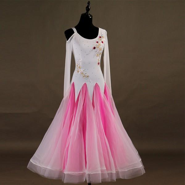 debb1b1057f9 Custom size ballroom dancing dresses for kids children girls stage  performance white pink black professional waltz tango dress skirt