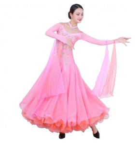 Custom size ballroom dancing dresses for women girls children competition rhinestones professional handmade waltz tango long dresses