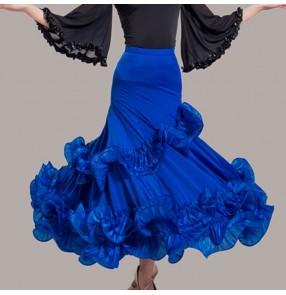 Custom Size Ballroom dancing skirt for women female competition professional waltz tango long length flamenco dancing skirts