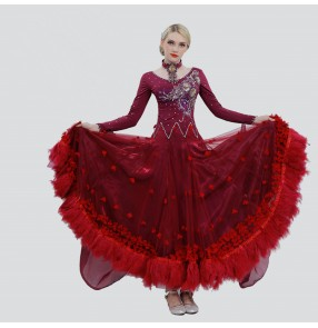Custom size ballroom waltz tango competition dresses for children adult flamenco wine red royal blue yellow pink big feather skirted dresses