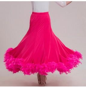 Custom size ballroom waltz tango dance skirts for female girls pink colored stage performance samba salsa chacha latin dance skirt