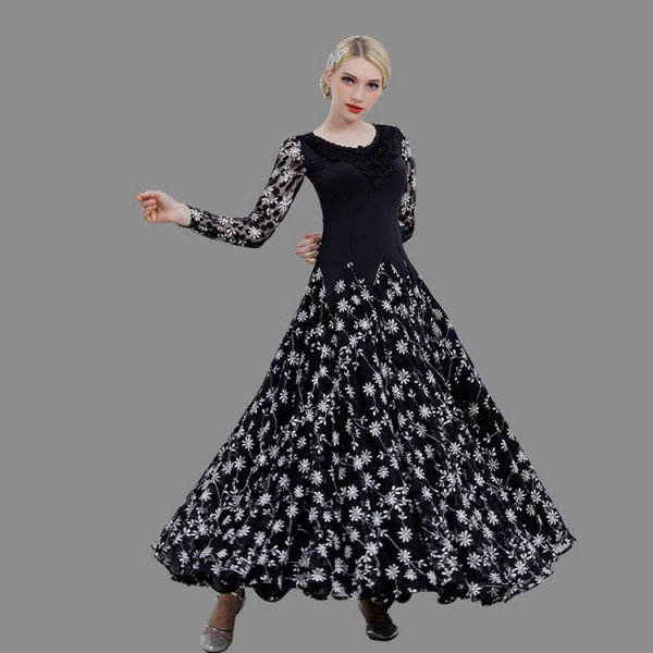 5ab400757593 Custom size Black and white floral flamenco ballroom dancing dresses  professional waltz tango competition stage performance dance clothes