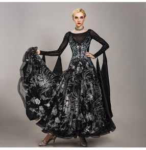 Custom size black luxury ballroom dancing dresses for women girls waltz tango dance dresses