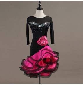 Custom size black with pink children latin dresses ballroom professional stage competition dress skirts