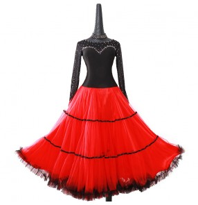 Custom size Black with red rhinestones competition ballroom dance dress for women girls professional stage performance waltz tango foxtrot ballroom dance dress for female