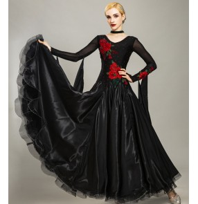 Custom size blck red ballroom dancing dresses for girls women competition waltz tango ballroom dance dresses