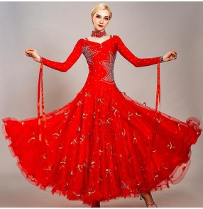Custom size blue red Women's ballroom dancing dresses waltz tango dance dresses