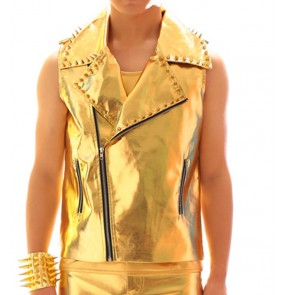 Custom size boy men gold rivevet pu leather jazz drum performance waistcosts youth young man singers host model show stage performance hiphop vest