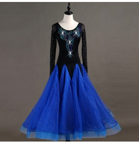 Custom size Children adult ballroom dresses stage performance competition long length professional salsa chacha rumba dresses