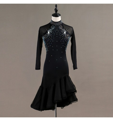 20f686a13592 Custom size children adult long sleeves ballroom latin dresses diamond stage  performance competition rumba chacha dancing dresses skirts